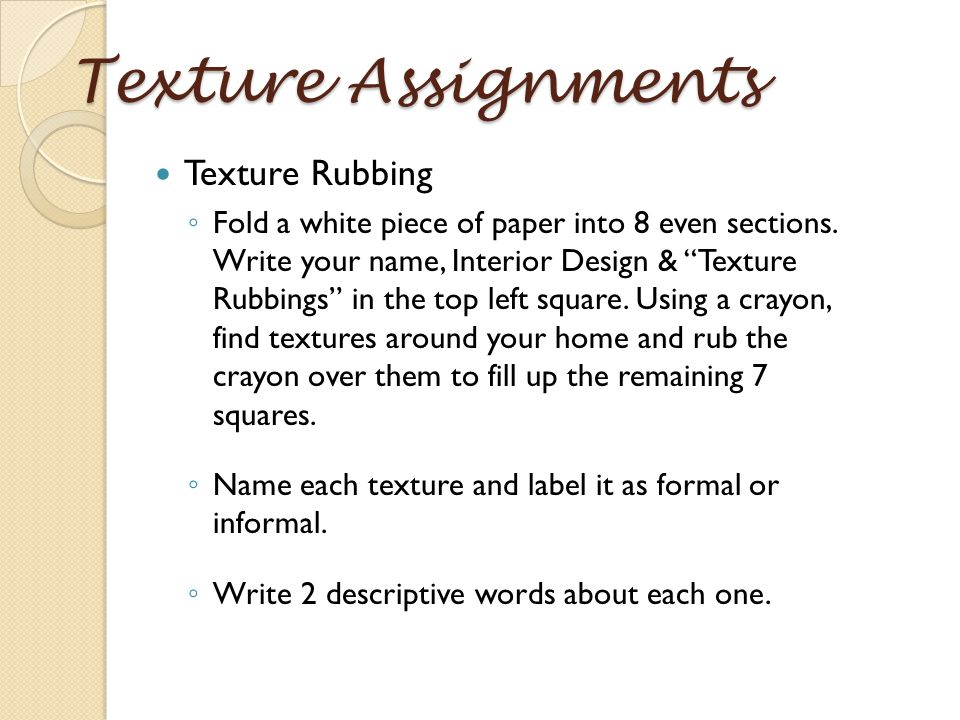 23 Texture Assignments Texture Rubbing  sc 1 st  SlidePlayer & Elements of Design Texture. - ppt download