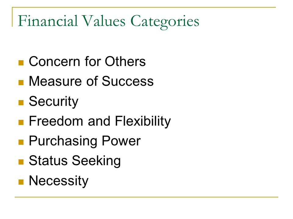 Financial Values Categories