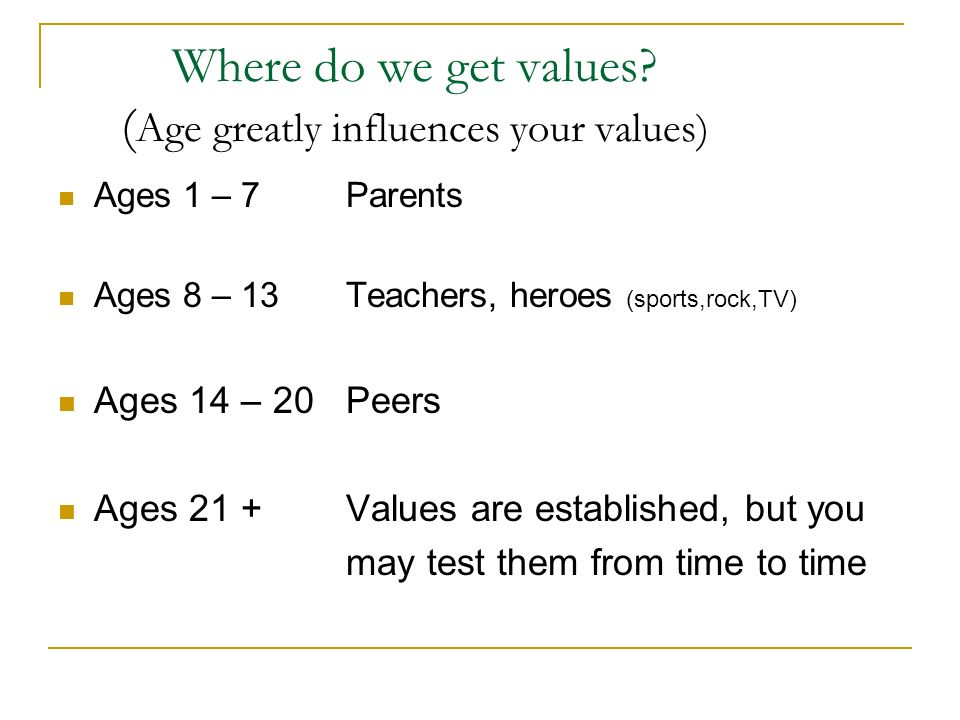 Where do we get values (Age greatly influences your values)