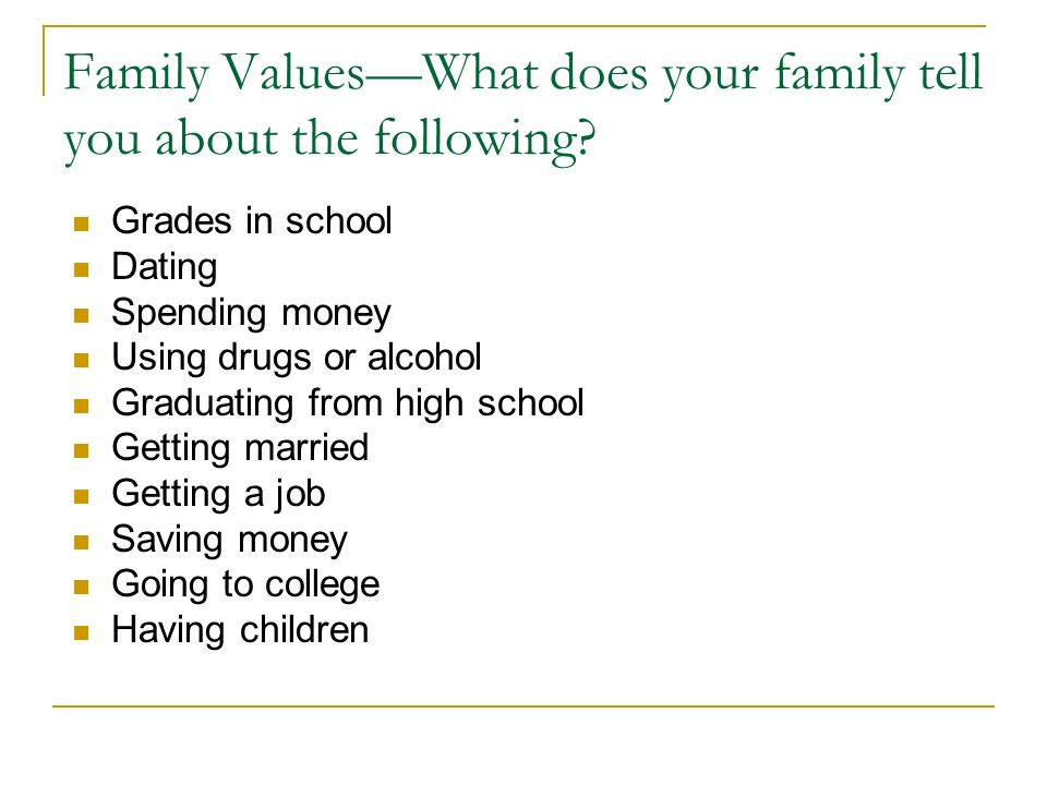 Family Values—What does your family tell you about the following