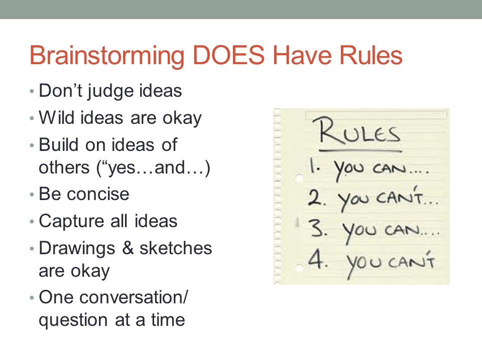 Brainstorming DOES Have Rules