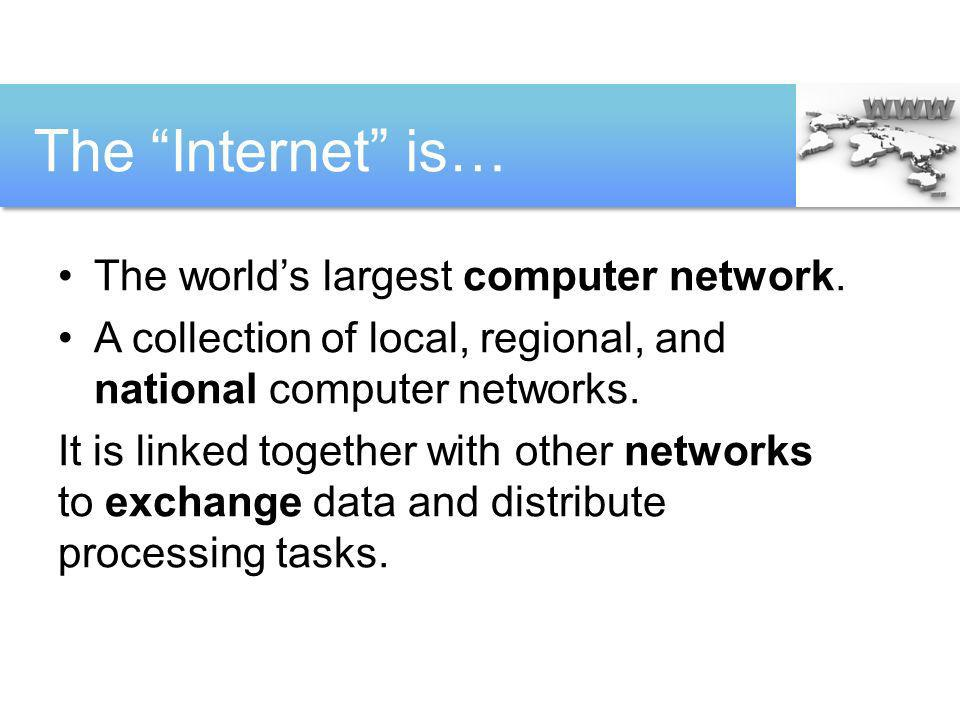 The Internet is… The world's largest computer network.