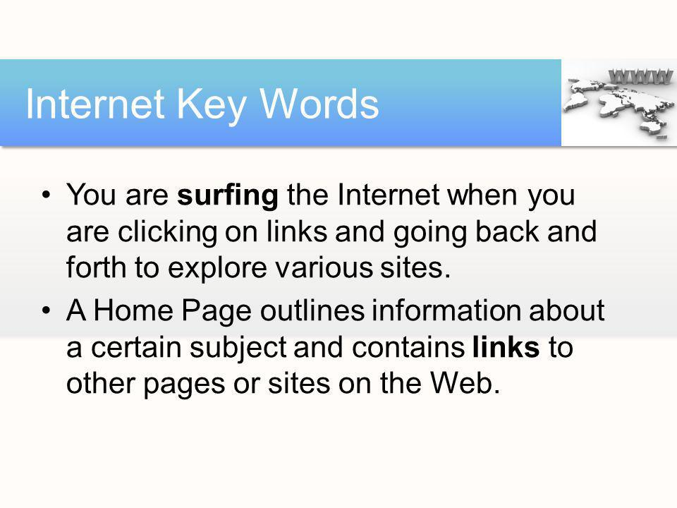 Internet Key Words You are surfing the Internet when you are clicking on links and going back and forth to explore various sites.