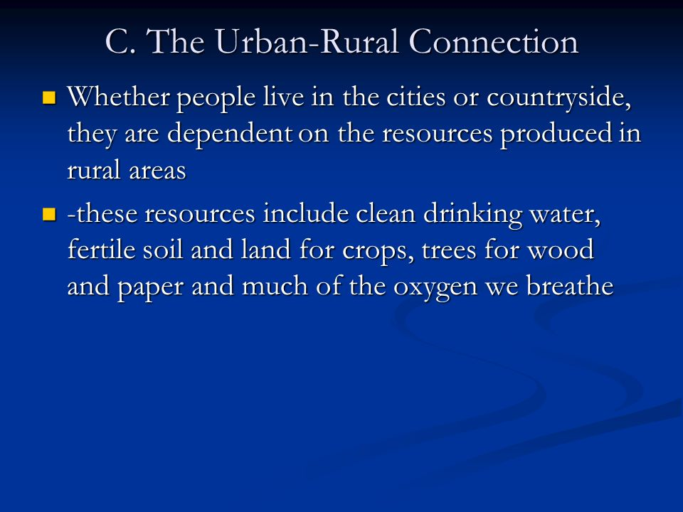 C. The Urban-Rural Connection