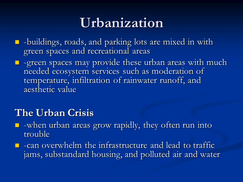 Urbanization The Urban Crisis