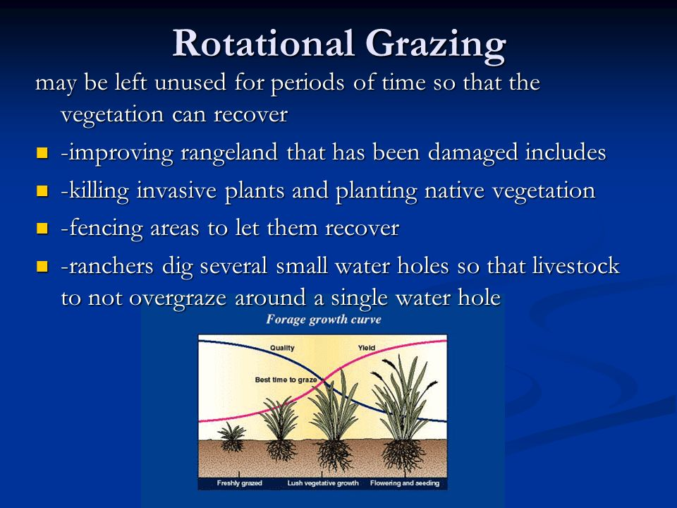 Rotational Grazing may be left unused for periods of time so that the vegetation can recover. -improving rangeland that has been damaged includes.