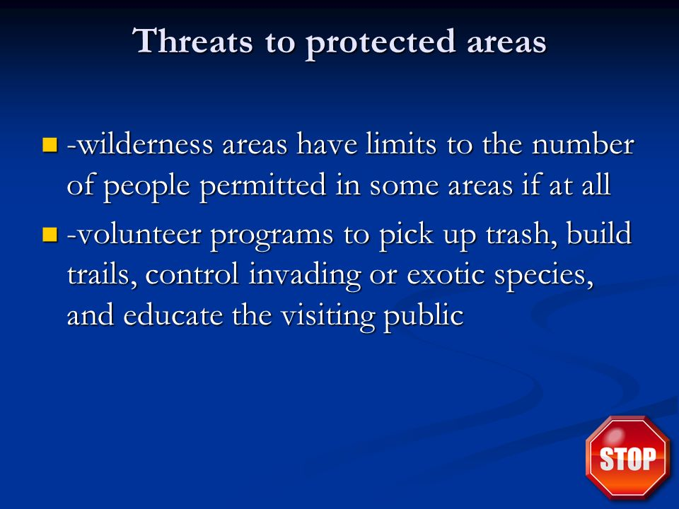 Threats to protected areas