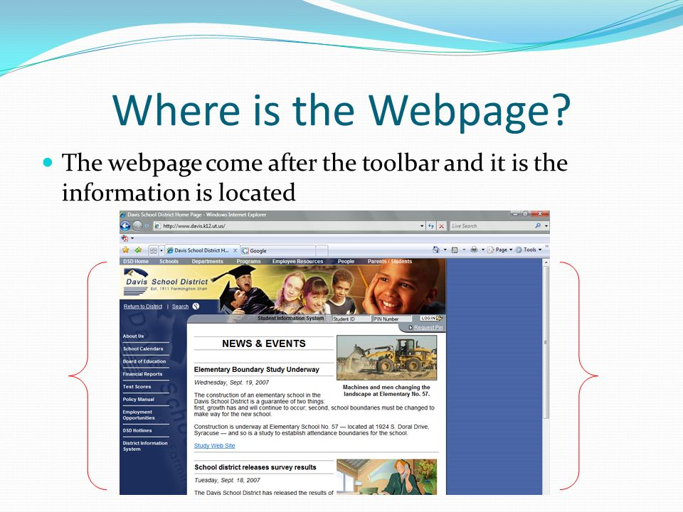 Where is the Webpage The webpage come after the toolbar and it is the information is located