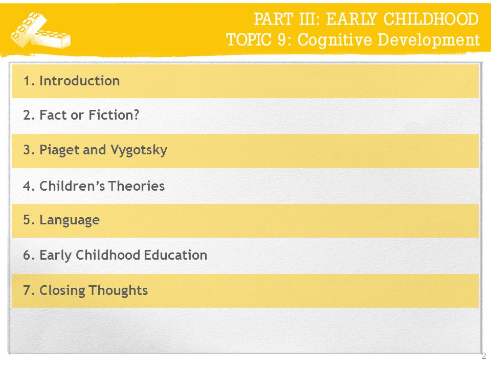 1. Introduction 2. Fact or Fiction 3. Piaget and Vygotsky. 4. Children's Theories. 5. Language.