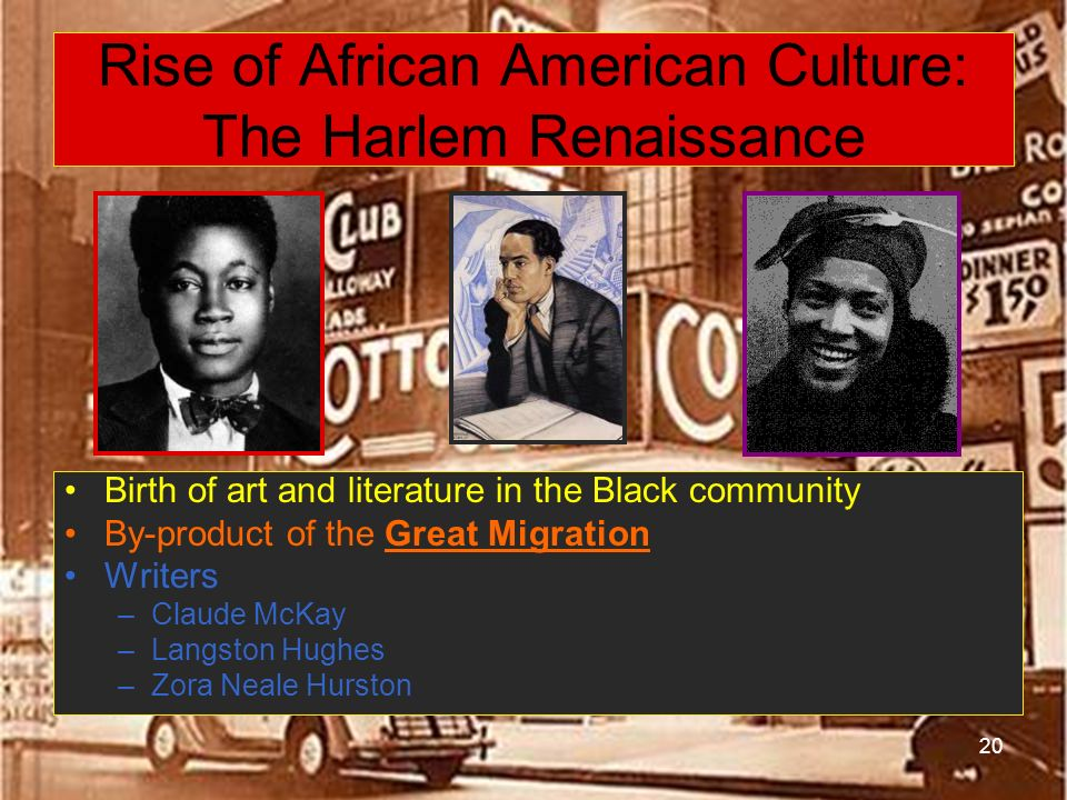 Rise of African American Culture: The Harlem Renaissance