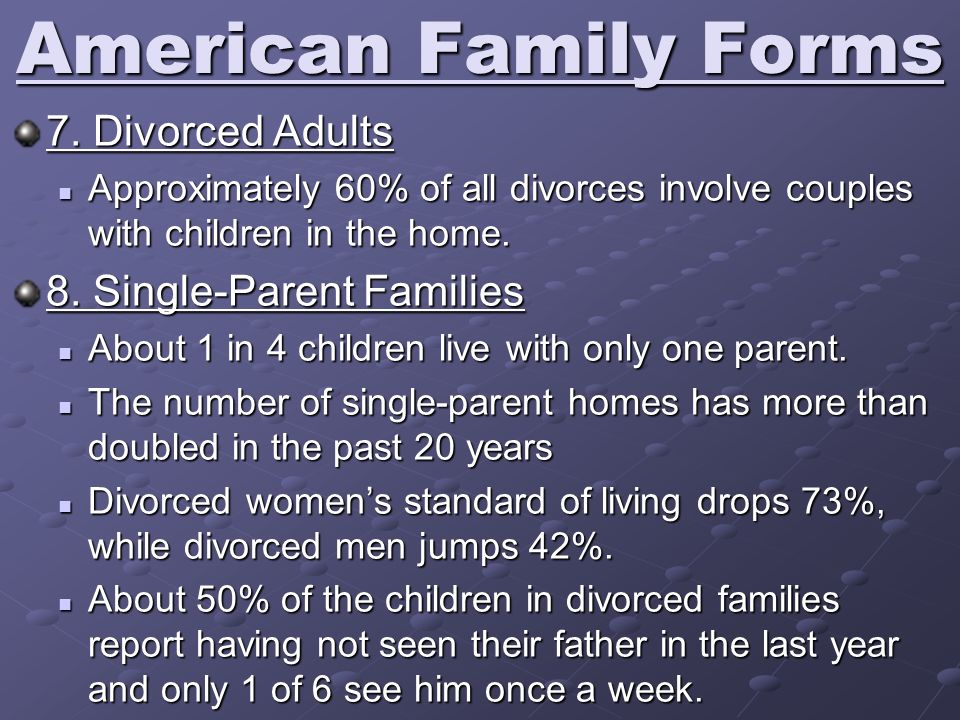 American Family Forms 7. Divorced Adults 8. Single-Parent Families