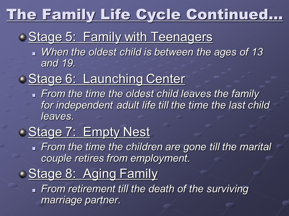 The Family Life Cycle Continued...