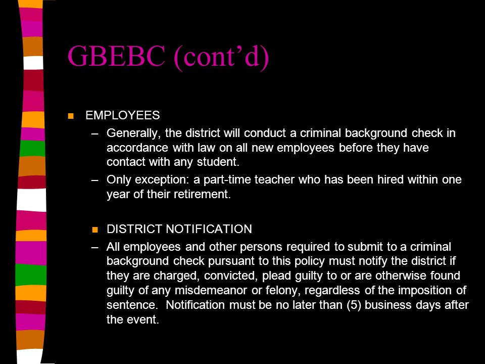 GBEBC (cont'd) EMPLOYEES