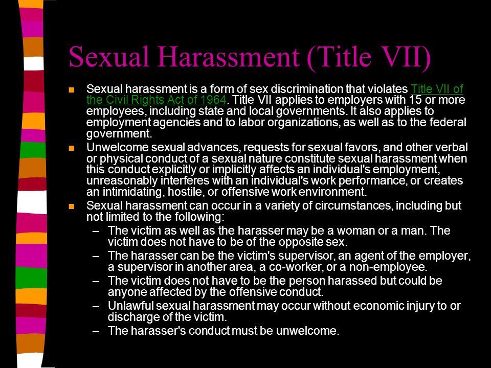 Sexual Harassment (Title VII)
