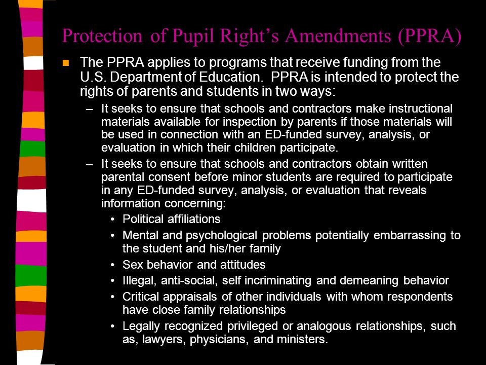 Protection of Pupil Right's Amendments (PPRA)