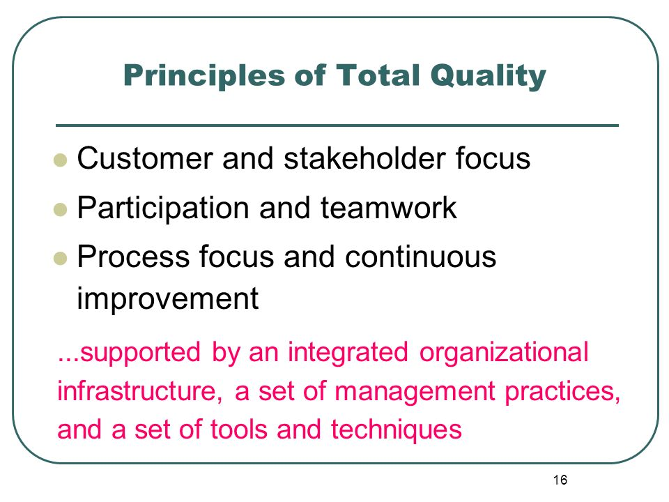 principles of total quality an analysis This book presents a comprehensive view of concepts, principles and practices of total quality management (tqm) from basics through advanced tools and techniques for practical implementationit is well known that 'total organization involvement' in understanding and implementing tqm, along with the integrated business strategy, provided japanese organizations with a strong platform for a.