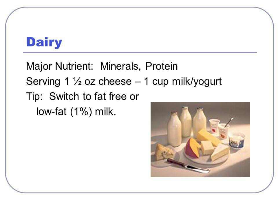 Dairy Major Nutrient: Minerals, Protein