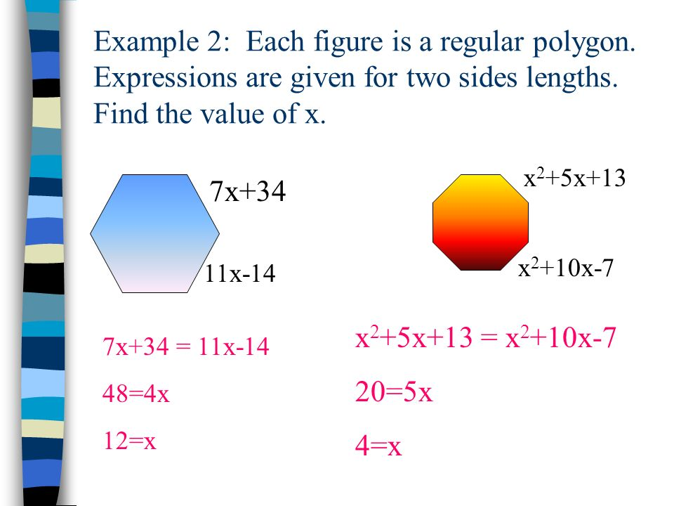 Example 2: Each figure is a regular polygon