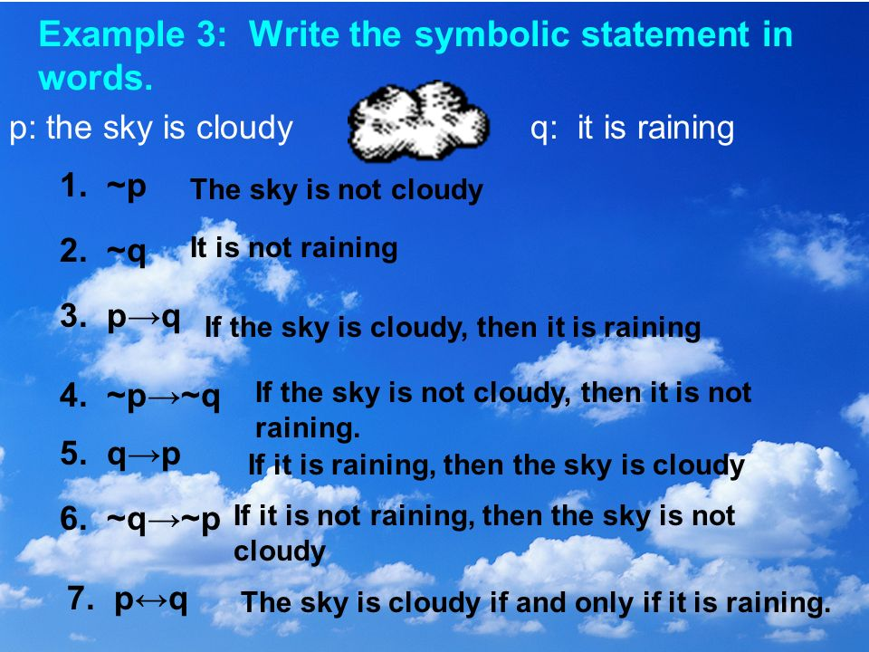 Example 3: Write the symbolic statement in words.