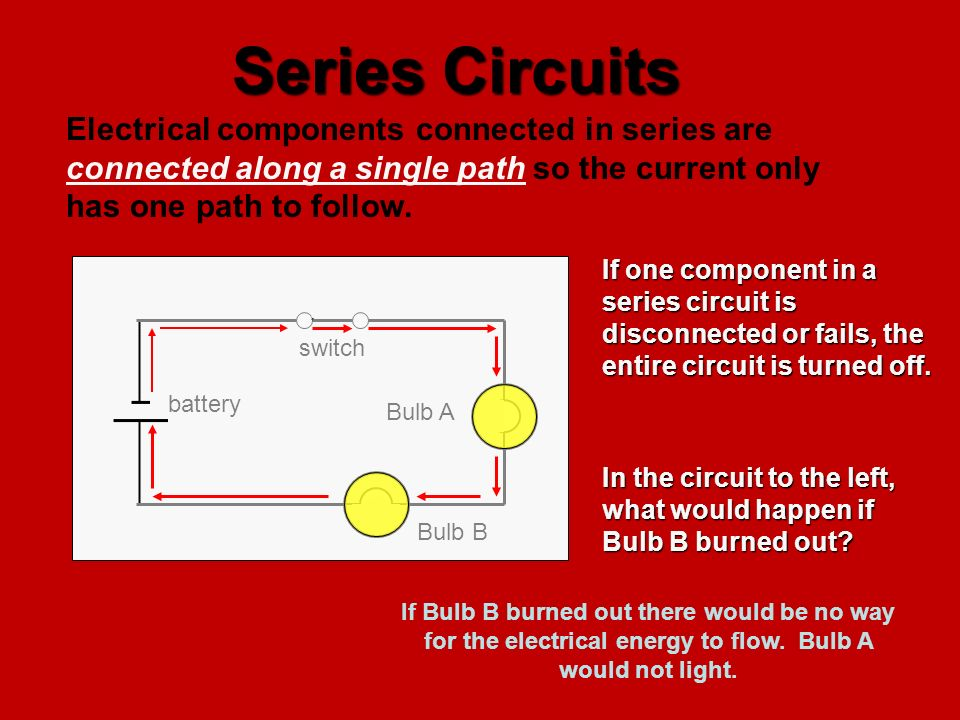 Series Circuits Electrical components connected in series are connected along a single path so the current only has one path to follow.