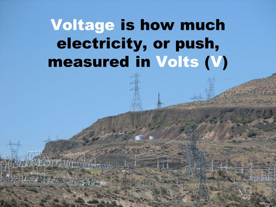 Voltage is how much electricity, or push, measured in Volts (V)