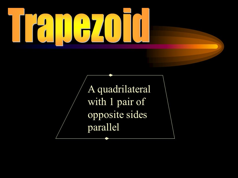 Trapezoid A quadrilateral with 1 pair of opposite sides parallel