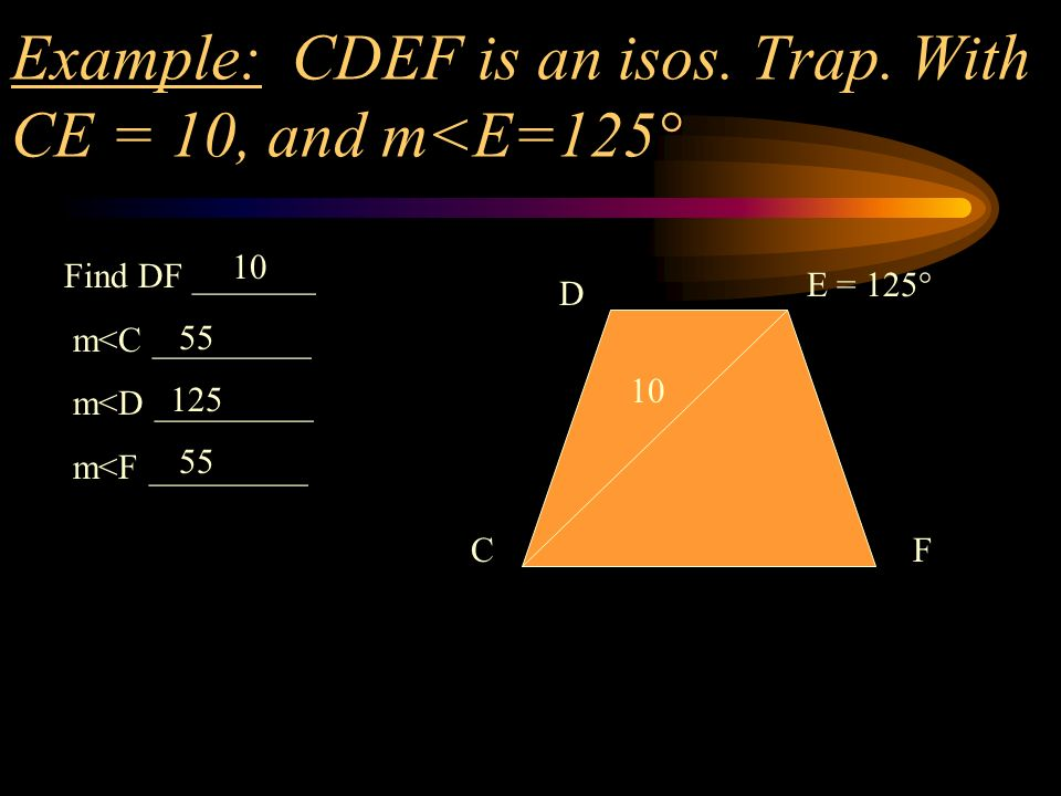 Example: CDEF is an isos. Trap. With CE = 10, and m<E=125°
