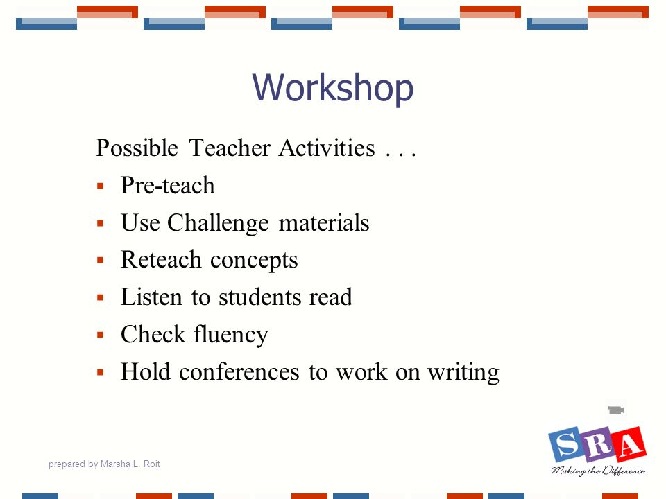 Workshop Possible Teacher Activities Pre-teach