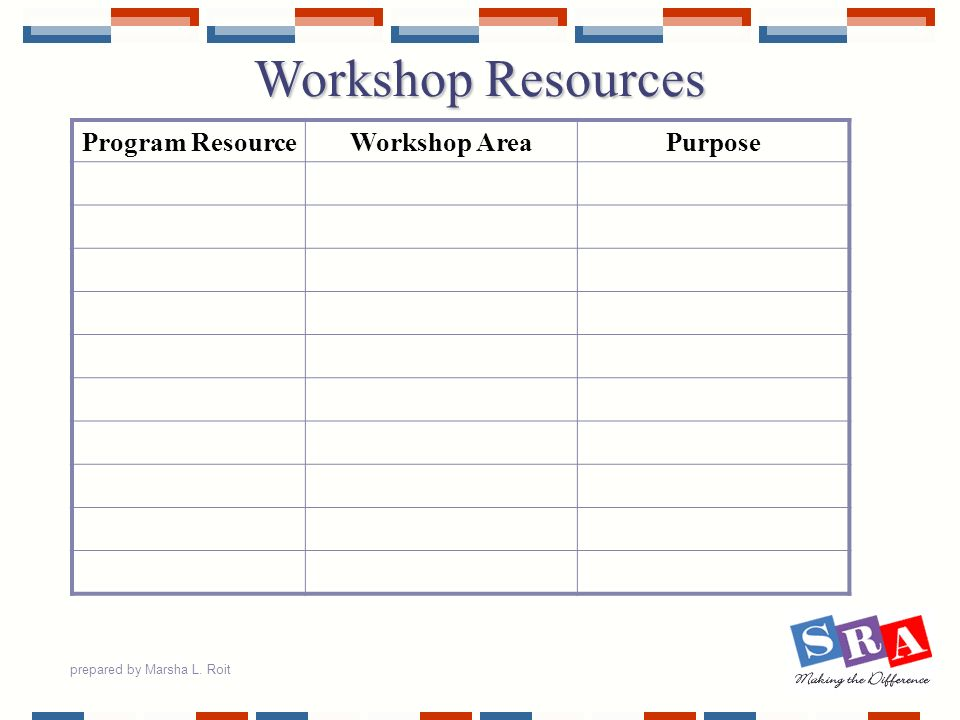 Workshop Resources Program Resource Workshop Area Purpose