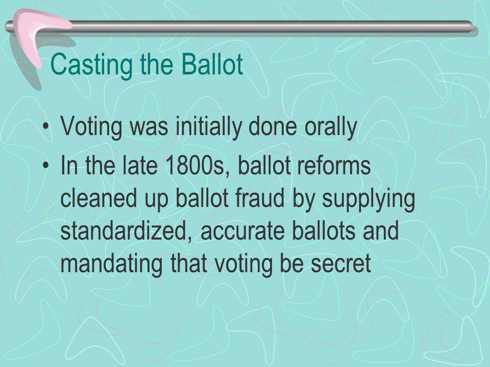 Casting the Ballot Voting was initially done orally