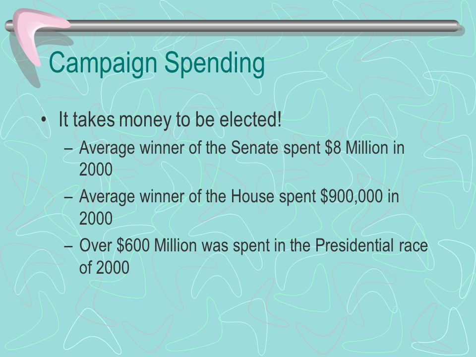 Campaign Spending It takes money to be elected!