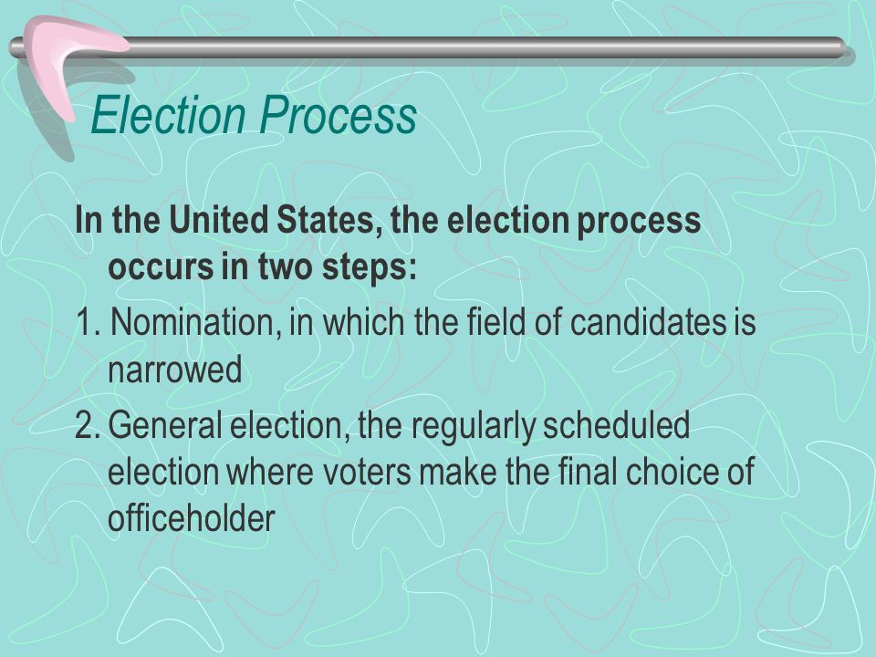 Election Process In the United States, the election process occurs in two steps: 1. Nomination, in which the field of candidates is narrowed.