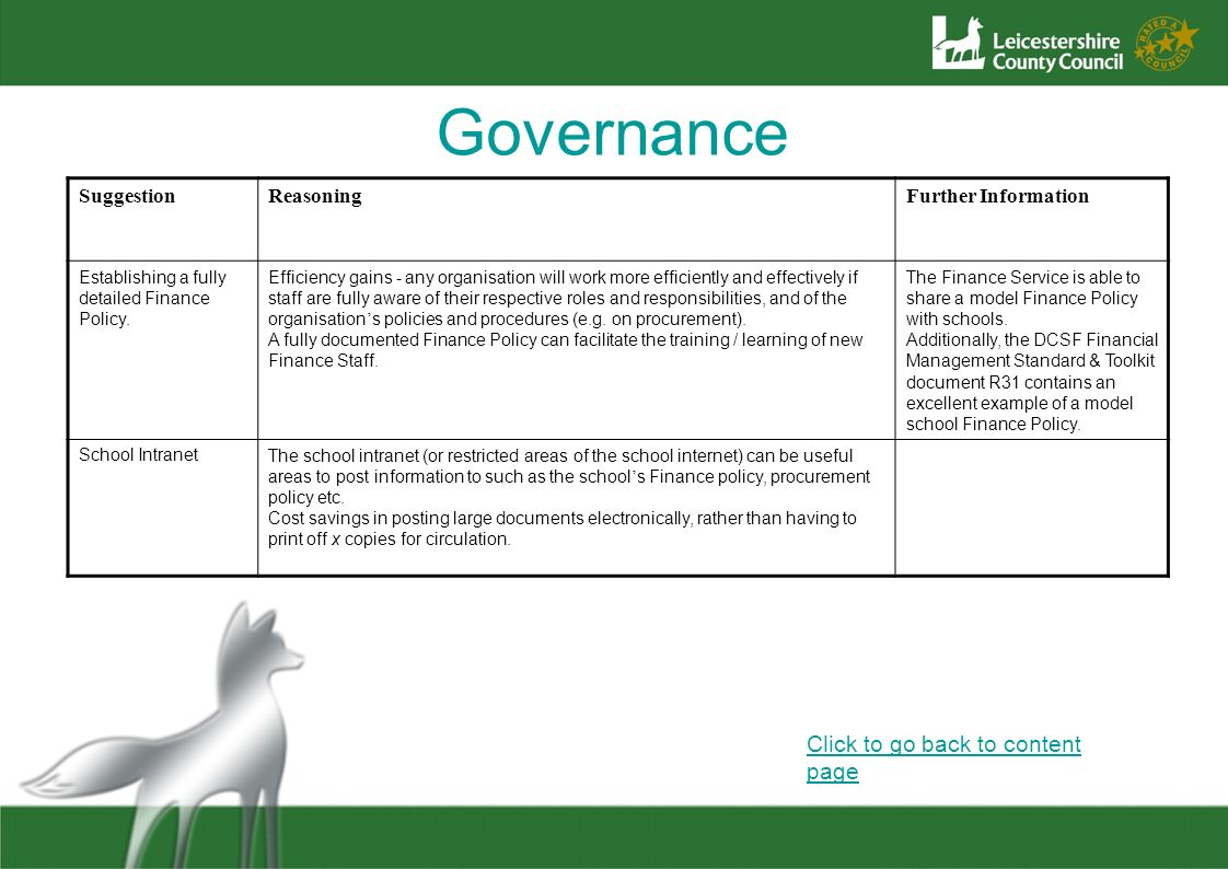 Governance Click to go back to content page Suggestion Reasoning
