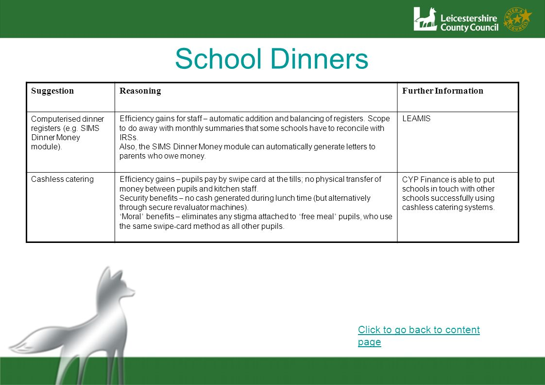 School Dinners Click to go back to content page Suggestion Reasoning