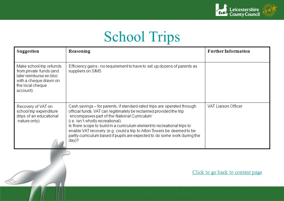 School Trips Click to go back to content page Suggestion Reasoning