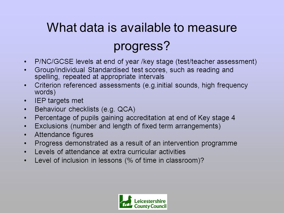 What data is available to measure progress