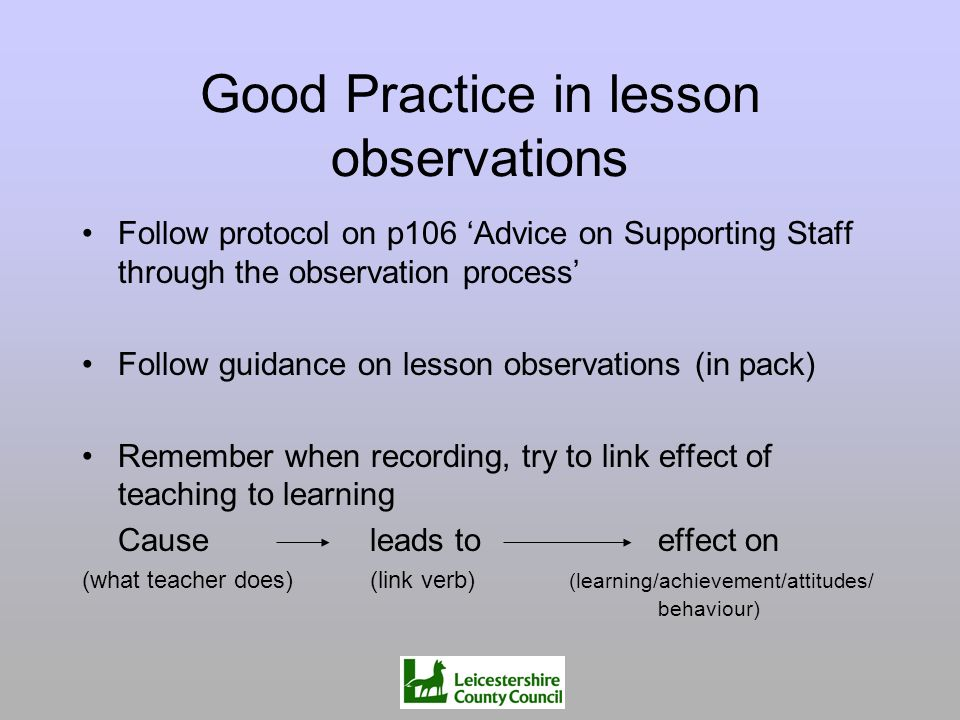 Good Practice in lesson observations
