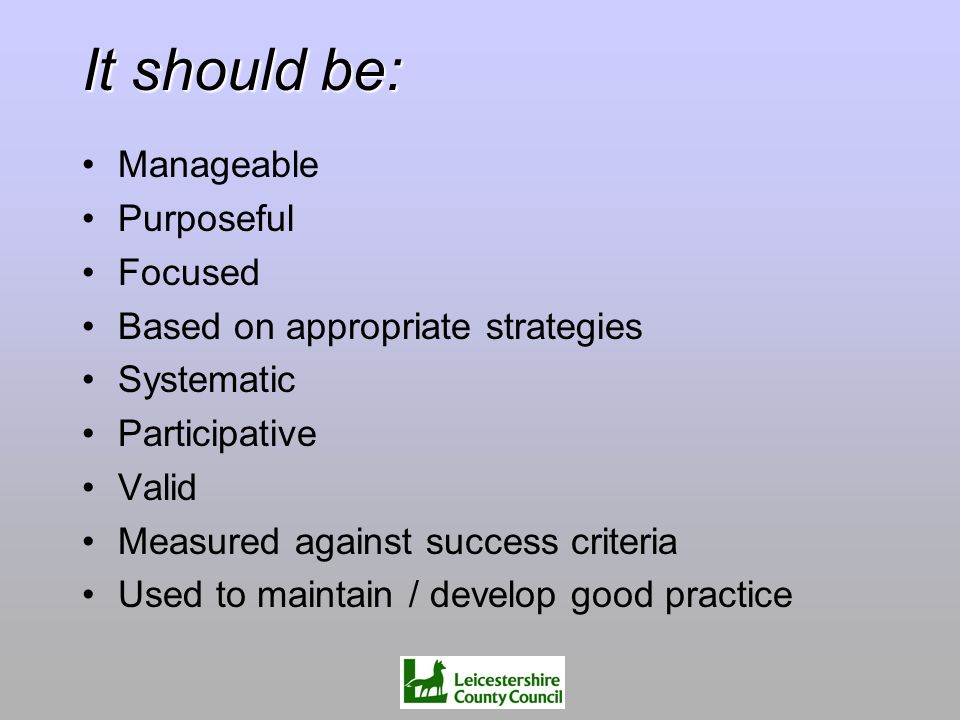 It should be: Manageable Purposeful Focused