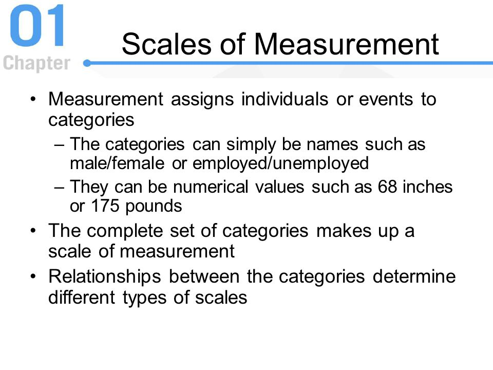 Scales of Measurement Measurement assigns individuals or events to categories.