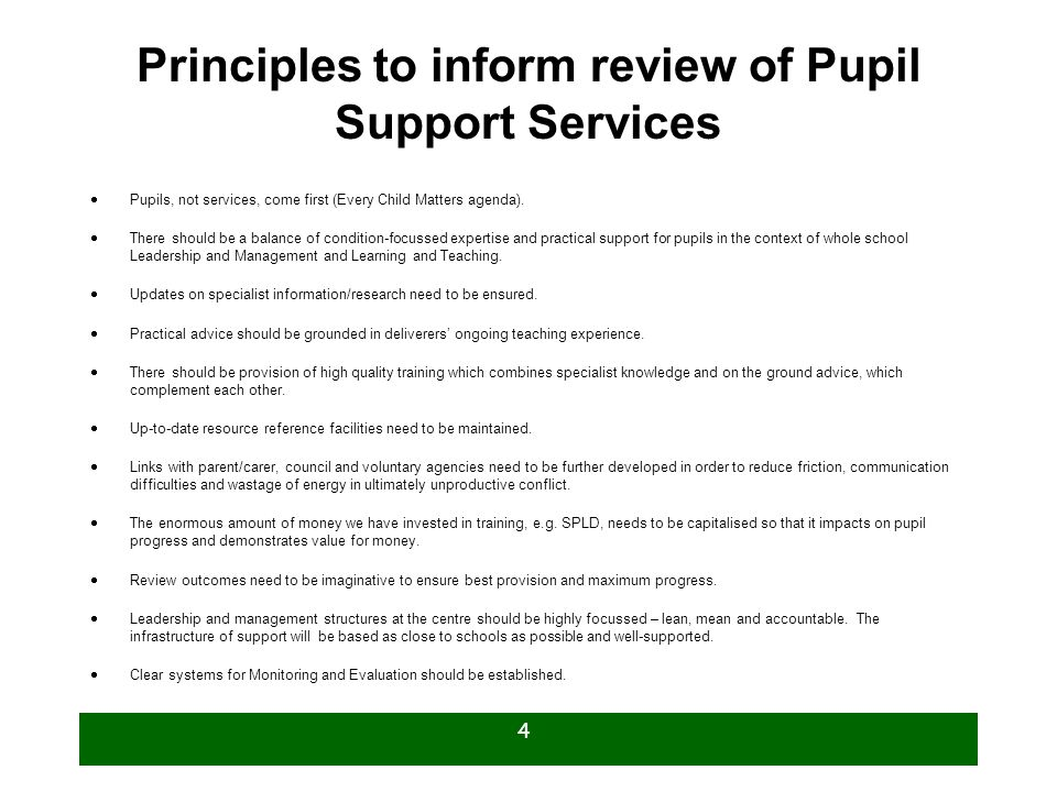 Principles to inform review of Pupil Support Services