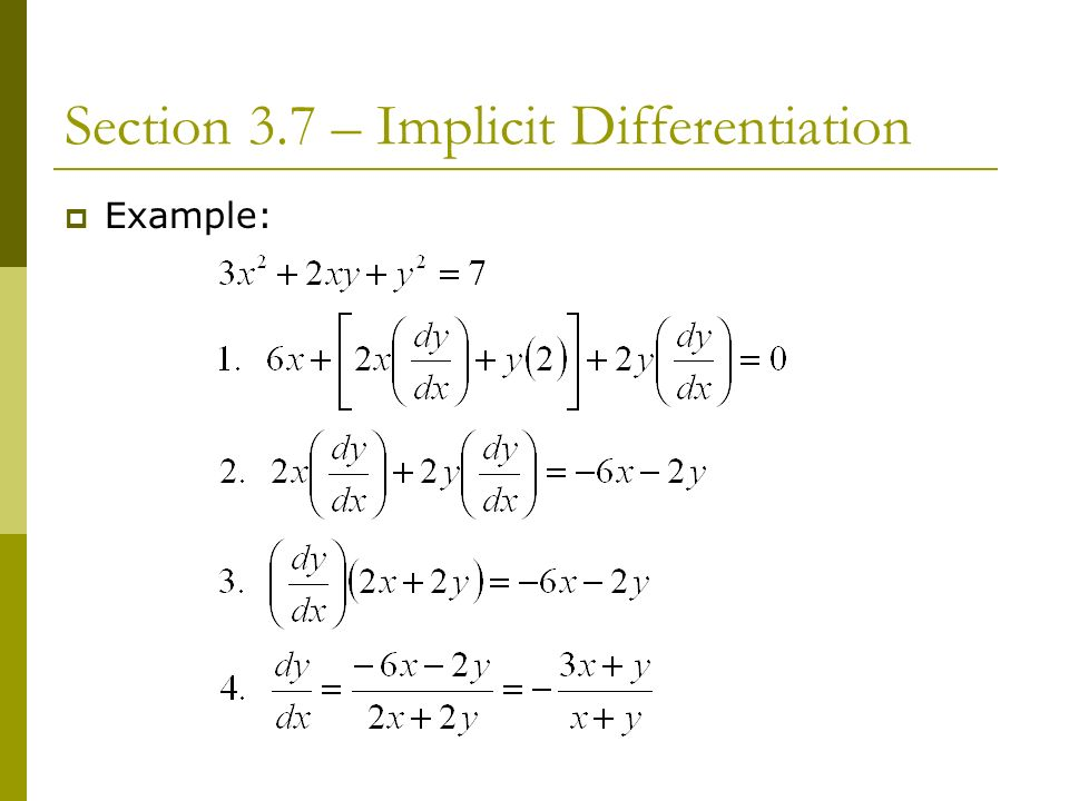 Chapter Derivatives Section 37 Implicit Differentiation Ppt