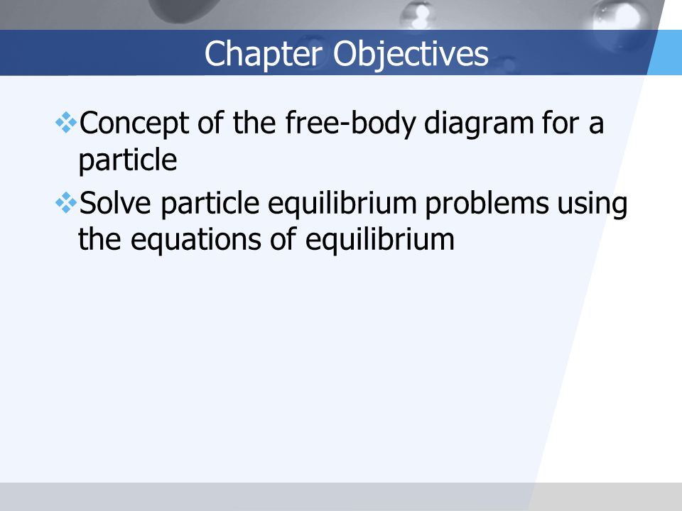 Chapter Objectives Concept of the free-body diagram for a particle