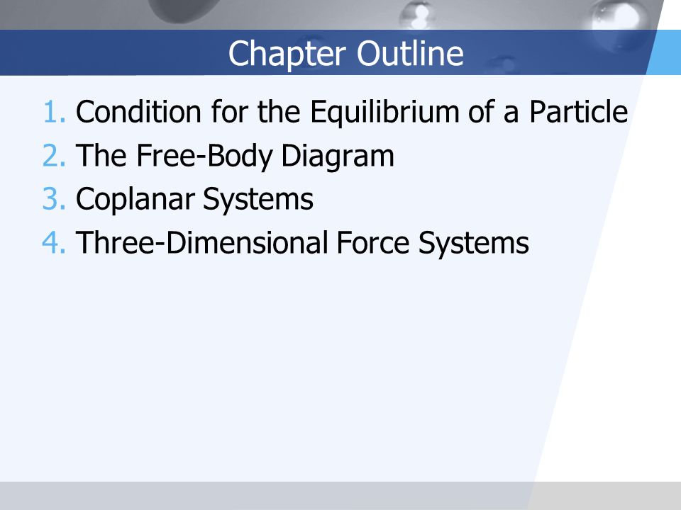Chapter Outline Condition for the Equilibrium of a Particle