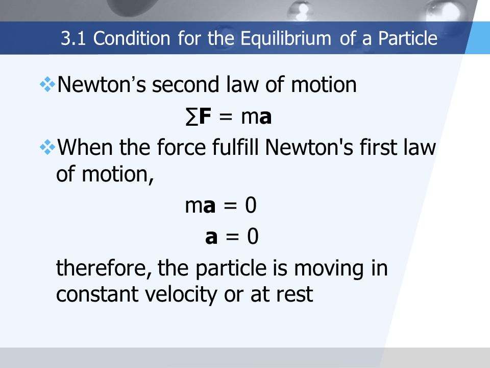 3.1 Condition for the Equilibrium of a Particle