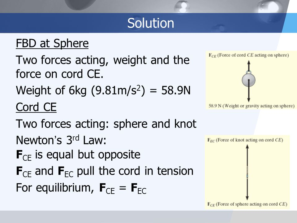 Solution FBD at Sphere. Two forces acting, weight and the force on cord CE. Weight of 6kg (9.81m/s2) = 58.9N.