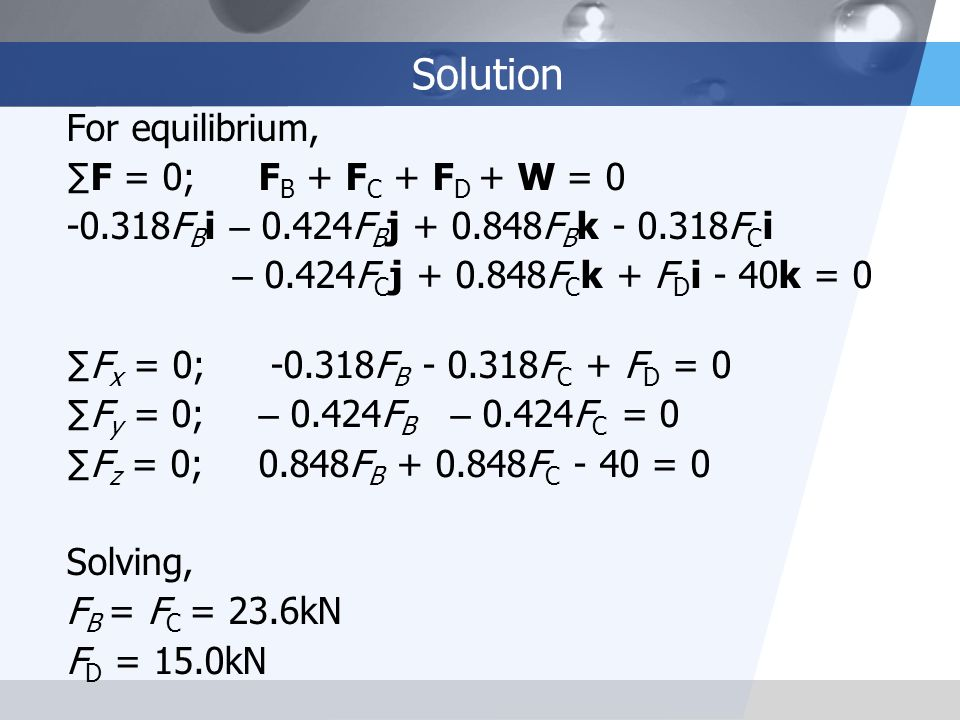 Solution For equilibrium, ∑F = 0; FB + FC + FD + W = 0