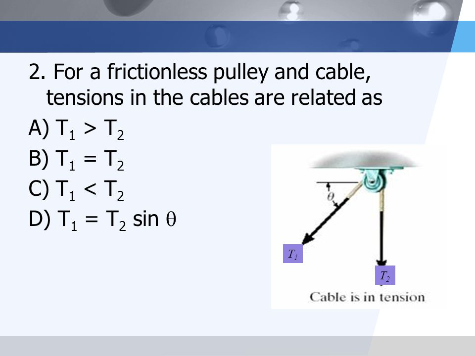 2. For a frictionless pulley and cable, tensions in the cables are related as