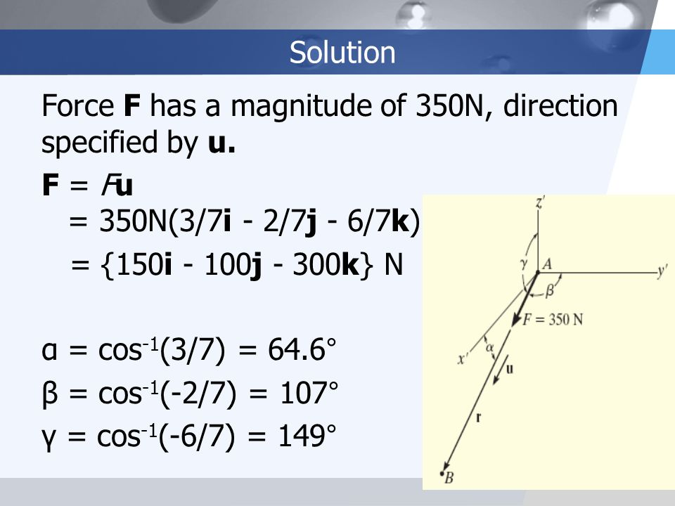 Solution Force F has a magnitude of 350N, direction specified by u. F = Fu = 350N(3/7i - 2/7j - 6/7k)