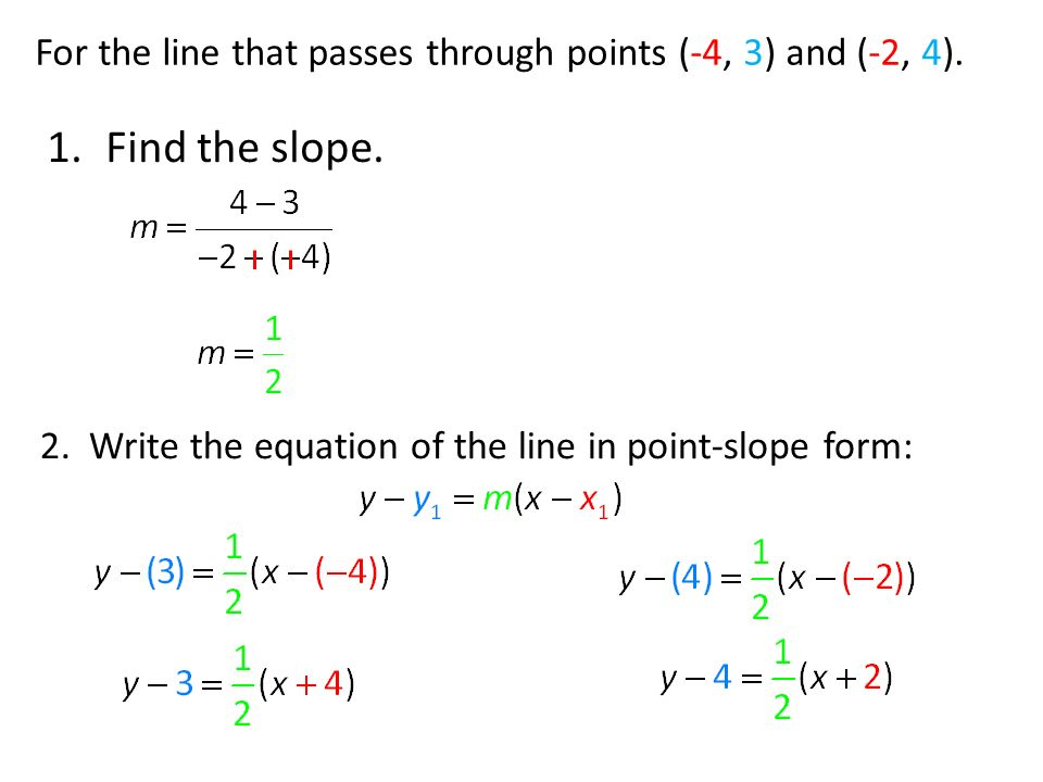 point slope form passing through 2 points  For the line that passes through points (-114, 114) and (-114, 114 ...