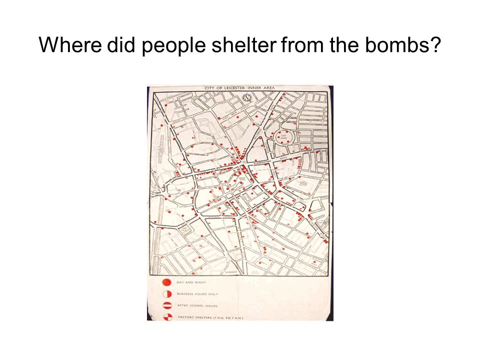 Where did people shelter from the bombs